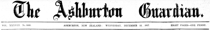 1. The masthead of the Ashburton Guardian during the time that Mr Taylor was editor