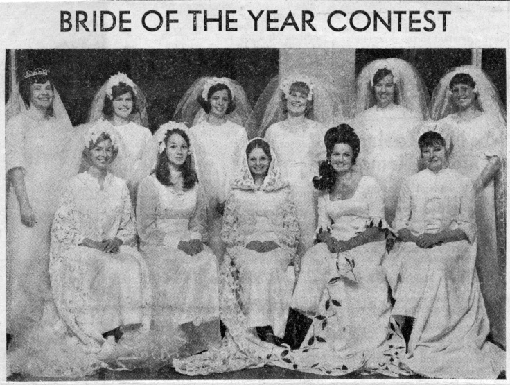 4. The brides who paraded in the Ashburton Bride of the Year 1970 event. Mrs Hallson is at the front center.